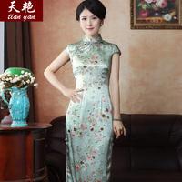 Light green floral * * old Shanghai fashion classic cheongsam cheongsam silk long