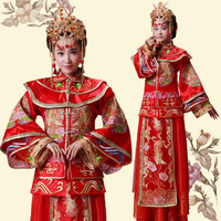 Xiu he wear Bride Dress Costume like service Vintage Chinese wedding dress red long cheongsam