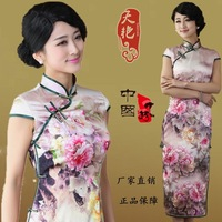 2014 day long cheongsam colourful new pavilion positioning printing silk cheongsam retro fashion classic in old Shanghai