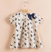 2015 New Arrive Free Shipping Brand Children Summer Girl's Dresses Deer Print Cotton Short Sleeve Children Princess Dress