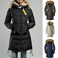 Wholesale Brand Winter Jacket Women 2014 Fur Collar Duck Down Coat Warm Overcoat Outdoor Clothes Long Parka BEAR Women Clothing