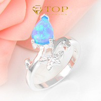 Hot sale 925 sterling silver Triangle Sky Blue opal rings for women semi-precious jewelry