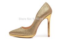 Free shipping gold high heels women pumps wedding shoes sapatos femininos salto alto red sole platform shoes genuine leather