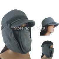 New High Quality Unique Unisex Cotton Cap Men/Women Winter Warm Removable Flat Hat M Size Dark Grey/Dark Blue Color  Bomber  Hat