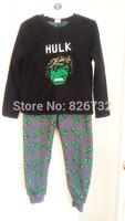 free shipping 2014 MARVEL COMICS  HULK boy's thick coral velvet  pajamas sets children's Pajamas sets