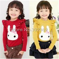 Children's Clothing New 2014 Spring Models Kids Baby Girls Cartoon Rabbit Lace Long-sleeved T Shirt Korean Tops And Tees Shirts