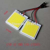 free shipping 50pcs/lot  White  COB Chip 48smd  LED Car Interior Light T10 Festoon Dome Adapter 12V, Car Vehicle LED Panel