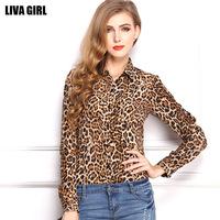 Free shipping 2014 new   women's loose big yards thin long-sleeved Leopard chiffon shirt