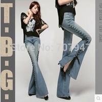 Free shipping 2015 autumn lashing bell-bottom jeans female slim boot cut jeans women plus size elastic skinny jeans pants