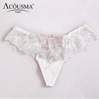 Hot Sale  Low Waist  G String  Briefs Women Sexy  Underwear white Thong Lace  Hole Women Panties
