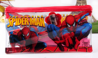 Wholsale 10 Sets SpiderMan Pencil Case School Stationery Set Sticker Bag For Cartoon Kids/Children Supplier Party Gifts Lots