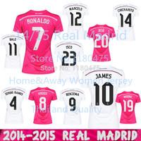 14/15 Real Madrid Lady Jerseys 2015 Home And Away Women Real Madrid 3 Sizes Fashion Soccer Jersey Ronaldo BALE RAMOS Girl Shirts