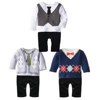 2015 new  baby exclusive  boy gentleman of leisure Romper Children's clothing