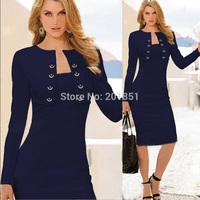 2014 Autumn Winter Women's Fashion Work Business Wear Elegant Modern Slim Long Sleeve Celebrity Bodycon Pencil Formal Dresses