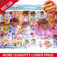 2014 Promotion Wall Clock All free Shipping! 7.8''x9.8'' 500pcs/bag Mixed Designs Stickers/doc Mcstuffins Sticker/ Pvc Sticker