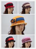 Free shipping women flower bowler hats 100% wool Trendy Derby Hat Cloche chapeu feminino chapeu fedora hat