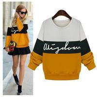 YHM1543  Plus Size  New 2014 Autumn Women's Bat Sleeve Loose Velvet Casual Sweatshirt Coat