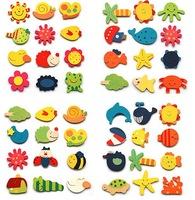 Free shipping Educational Kids Children creative cartoon Wooden Refrigerator fridge magnet sticker,cute funny baby toy