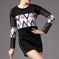 women fashion patchwork long sleeve O-neck vintage dress,black casual dresses 88F05
