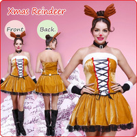 Free Shipping Hot Selling Christmas costume yellow Reindeer Costume kits party clothes (dress+gloves+headset+necklace)141110#7
