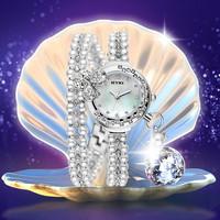 2015 Hot KIMIO Brand Korea Women Rhinestone Pearl Bracelets Watches 100% Quality Women Waterproof Quartz Watch