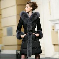 Free Ship Luxury European Fashion Natural Raccoon Fur Collar Cuff Long  Women Down Jacket S-5XL Plus Size Lady Padded Coat Parka