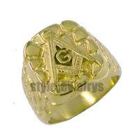 Free shipping! Masonic Ring Stainless Steel Gold Plated Freemasonry Masonic Ring SWR0010G