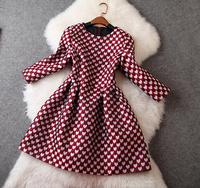 New arrival 2014 winter women's claretred heart print jacquard wrist-length sleeve one-piece dress