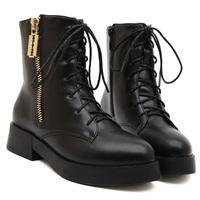 ankle boots heels lace up British flat brand boots thick soles zipper punk boots velvet inside women winter shoes zapatillas