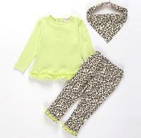 2014 Sale Retail 2015 Baby Girls High Quality 3pcs Set Top+leopardpants+headband Outfits Sets Kids Cloth Children Clothing Suit