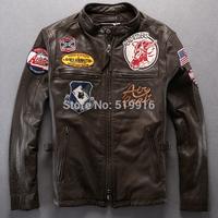 Avirex flight suit water wash pleated suede genuine leather Men slim clothing motorcycle clothing