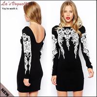 2014 Black Dress Robe Sexy Club Women Clothing Long Sleeve Bandage Dress Celebrity Black And White Dress