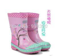 Free Shipping Girls Kids Princess Pink Rubber Rain Boots Fashion Dot Cartoon Anti-slip Rainboots Waterproof Water Shoes #KS5