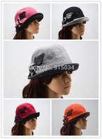 Free shipping fashion women winter floral bowler hat wool floppy hats caps flower trimmed Cloche Crochet Hat fedoras