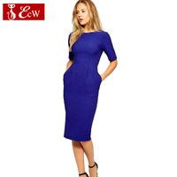 ECW New Fashion 2014ECW  Women Dress Party Dress Fashion Slim Solid Simple Evenning Dress Seven sleeves Casual Base