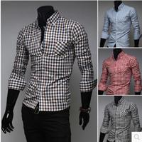 New Fashion Men Plaid shirt  long sleeve Shirt red,blue,black,coffee