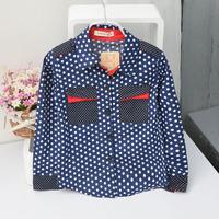 Child dot long-sleeve shirt male child baby 2014 autumn shirt 100% cotton shirt