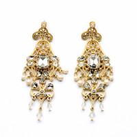 2014 Fashion Vintage Luxury Rhinestone Earrings Wholesale Gold Drop Earrings Fashion Jewelry Brincos JLE040