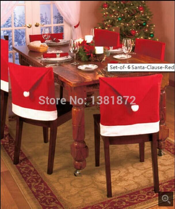 6 stück/lot heißer verkauf weihnachten santa Red Hat rückenlehne deckt stuhl einrichtungsgegenstände wärmer xmas dekor versandkostenfrei