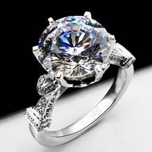 Stunning US Certifiy Moissanite 4ct 18K White Gold Synthetic Diamond Ring 18K White Gold Jewelry Engagement For Women Jewelry(China (Mainland))