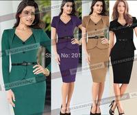 2014 New European Brand Fashion Autumn Winter Women Elegant Ruffles Long Sleeve Celebrity Bodycon Slim Pencil Evening Dresses