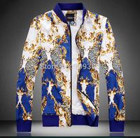 Plus Size 4XL 2014 Autumn Club Outfit Gold Bule Mens Leopard Print Jacket Outwear Vintage Dress Pantalon Fashion Clothes Luxury