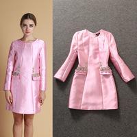 2014 New European Style Women Autumn Dresses Long Sleeve Fashion Beading Long Sleeve Pink/Beige Women Clothing Free Ship WA4267