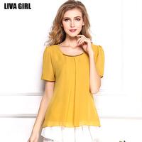 2014 new Women Chiffon shirt Korean big yards good quality short-sleeved chiffon blouses 9 colors 6 sizes T shirt T1212
