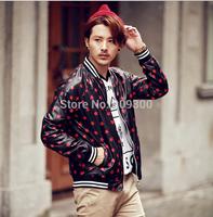 Men of new fund of 2014 autumn winters Han Shangxing boom coat collar The stars printing leisure coat jacket