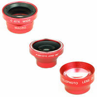 1set 4 in 1 Magnetic Wide angle Macro FishEye 2X TELEPHOTO Lens Kit for iPhone 5 5S iPad Samsung galaxy S4 S5 Note 3 4 CL-1-2-13