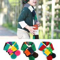 New 2015 Autumn & Winter Warm Knitted Kids Cute Muffler Baby Colorful Scarf Children Baby Infant Handmade Muffler