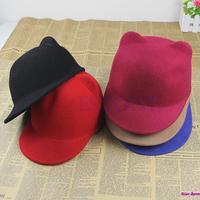 Fashion Winter Fashion Women Devil Hat Cute Kitty Cat Ears Wool Derby Bowler Cap Free Shipping