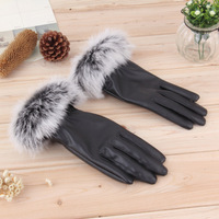 1pair New 2014 Women Lady Black Faux Leather+Fur Gloves Winter Warm Mittens Finger Bicycling