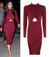 2014 New Europe Fashion Autumn Winter Women Wine Red Sexy Hollow Out Long Sleeve Celebrity Bodycon Bandage Slim Evening Dresses